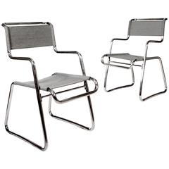 Pair of Chromed Cantilever Tubular Metal Chairs by Karel Ort