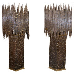 Large Pair of Brass Lamps by Henry Fernandez