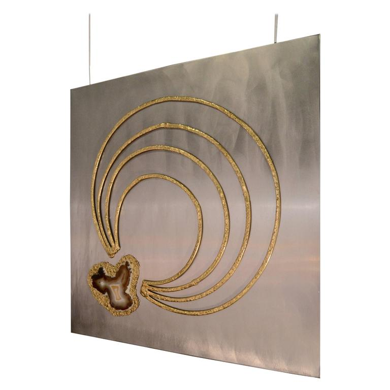 1970s Agate and Brass Panel by Henri Fernandez
