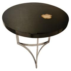 1970s Black Lacquered Table with Agate Inlaid Top