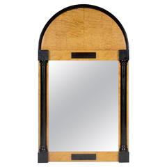 Biedermeier Birch Veneered and Ebonised Mirror