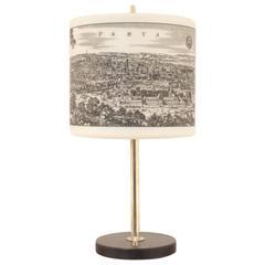 Mid-Century Design, Paris & Bordeaux Glass and Brass Table Lamp