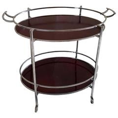 Mid-Century Oval Polished Stainless Steel and Chrome Cherry Wood Bar Cart