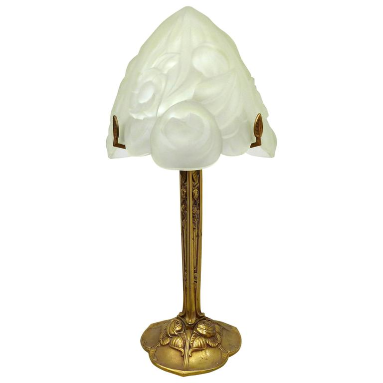 art deco bronze with floral glass shade table lamp for. Black Bedroom Furniture Sets. Home Design Ideas