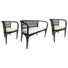 Thonet Austrian Secession Set of One Couch and Two Chairs in Bentwood