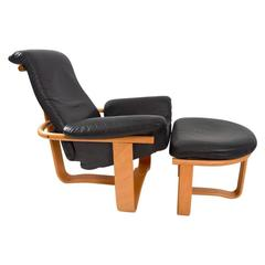 Leather and Wood Manta Chair and Ottoman by Ingmar Relling for Westnofa