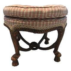 Wonderful Ottoman with Giltwood Base and Upholstered Seat