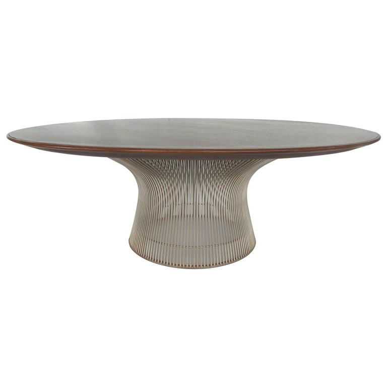 Mid century modern round warren platner walnut and chrome for Warren platner coffee table
