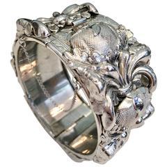 Vintage Whiting & Davis Silver High Relief Art Nouveau Style Bracelet
