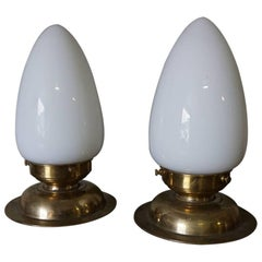 Brass and Glass Art Deco Table Lamps, Set of Two