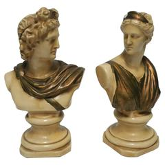 Pair Midcentury Italian Male and Female Classic Roman Bust Sculptures