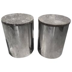Paul Mayen Marble and Chrome End Table, Stool or Pedestal