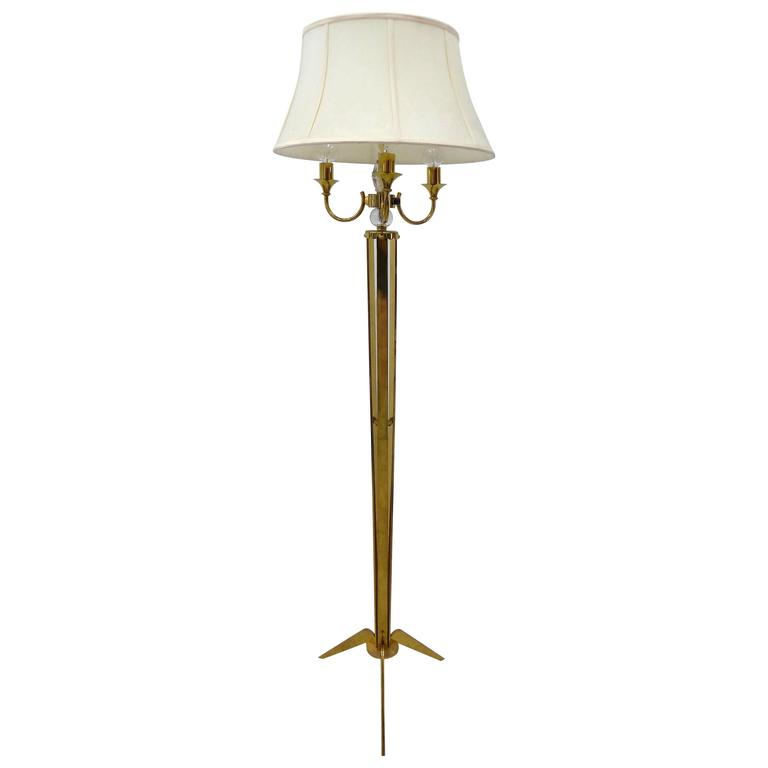 1940s French Brass and Crystal Floor Lamp