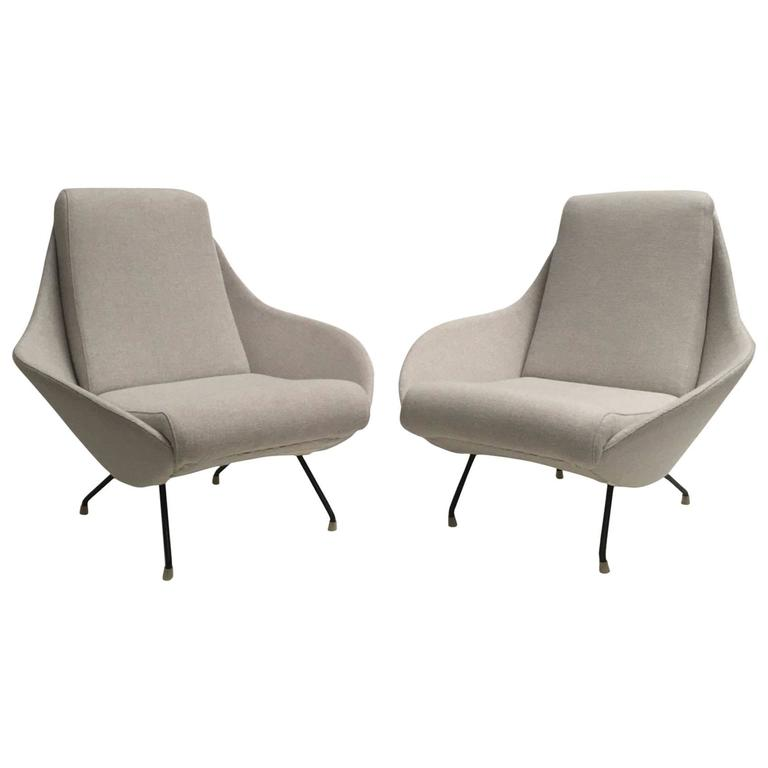Beautiful Restored Italian Sculptural Mantis Form Lounge Chairs, 1950-1955
