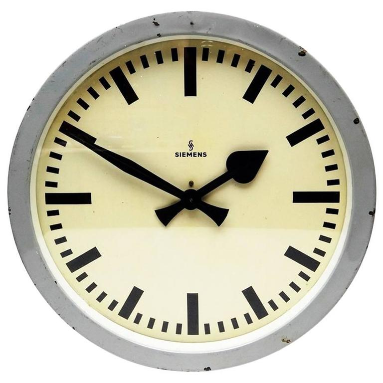 Large Siemens Industrial Or Station Wall Clock For Sale At 1stdibs