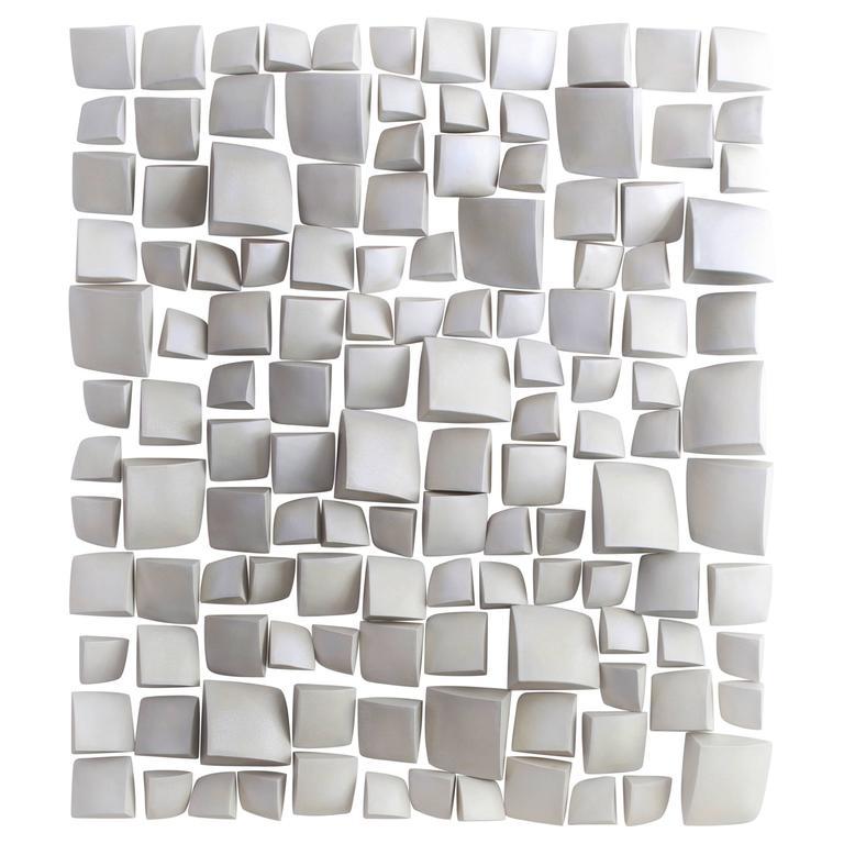 Maren Kloppmann, Wall Pillow Field, 2016, white ceramic wall installation