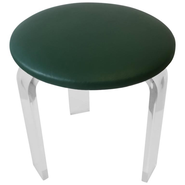 Modern Lucite Stool or Vanity Chair with Green Faux Leather Upholstery