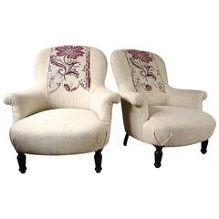 Pair of  Napoleon III Armchairs with 18th Century Textile Detail