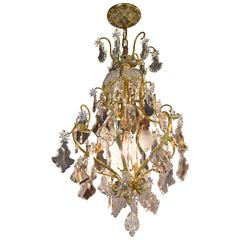 Dore Bronze Chandelier with Six (6) Arms and Faceted Crystal Prisms