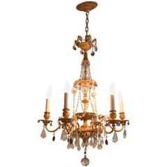 Early 20th Century Six-Arm Bronze Chandelier with Amethyst Colored Drops