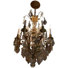 Late 19th Century Dore Bronze Chandelier with Faceted Crystal Prism