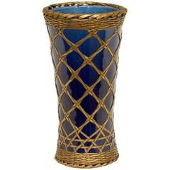 Antique Awaji Pottery Vase with Brass Weaving