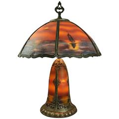 Antique Reverse Painted Pittsburgh Style Bronze Table Lamp, Seascape, circa 1920