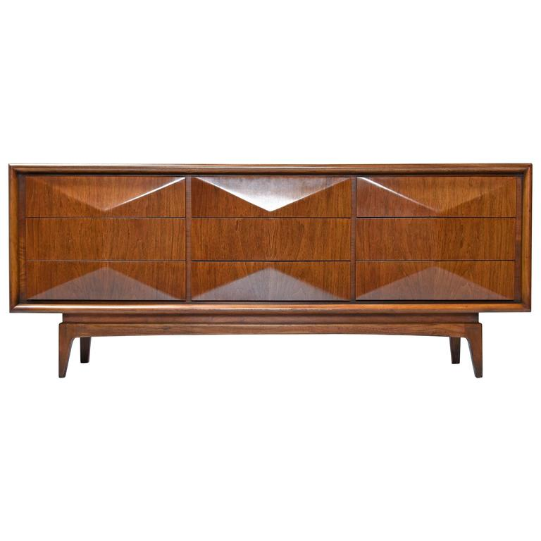 United Furniture 1950s Diamond Front Triple Dresser At