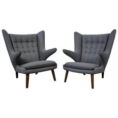 Hans Wegner Pair of Papa Bear Chairs and Ottoman
