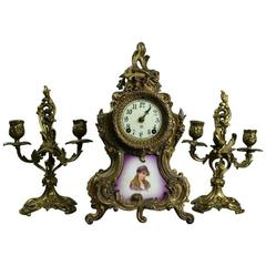 Rococo Style Ansonia Garniture Set With Porcelain Dial and Portrait Plaque, NY