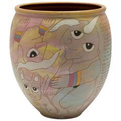 American Washington Ledesma Contemporary Pottery Ceramic Jar, Dated 1984