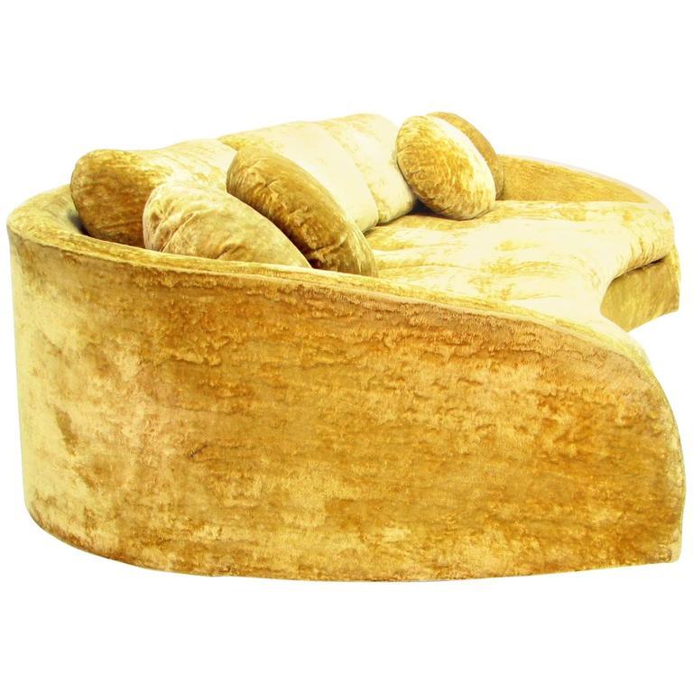 Dramatic Floating Gold Velvet Mid-Century Sofa