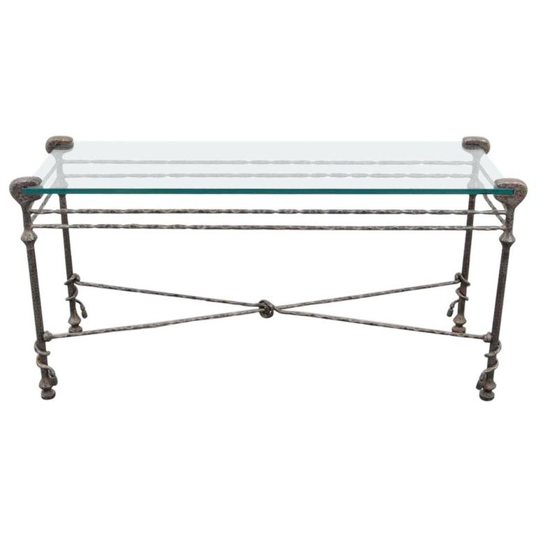 Mid-Century Hammered Iron Console Table in the Manner of Diego Giacometti