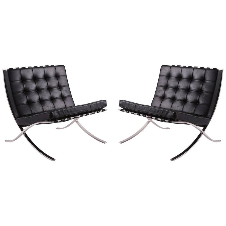 early mies van der rohe for knoll barcelona chairs at 1stdibs. Black Bedroom Furniture Sets. Home Design Ideas