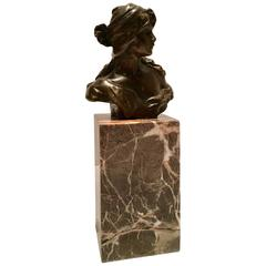 French Art Nouveau Style Bronze Female Bust Sculpture on Marble Stand