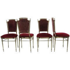 Classic Chairs in Solid Brass, French, 1950s