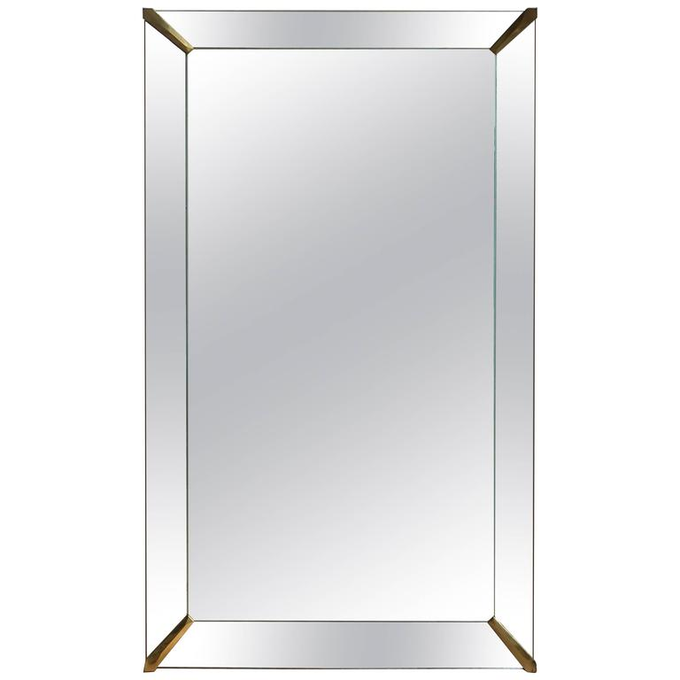 Art Deco Mirror with Brass Mounts