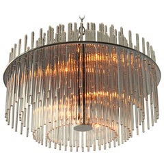 Pair of Classic Glass Rod  Chandelier  from Lightolier  , 1980s , USA