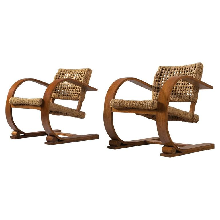 Set Of Two Rope Chairs By Audoux Minet For Vibo For Sale