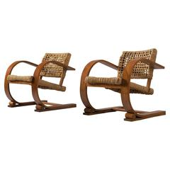 Set of Two Rope Chairs by Audoux-Minet for Vibo
