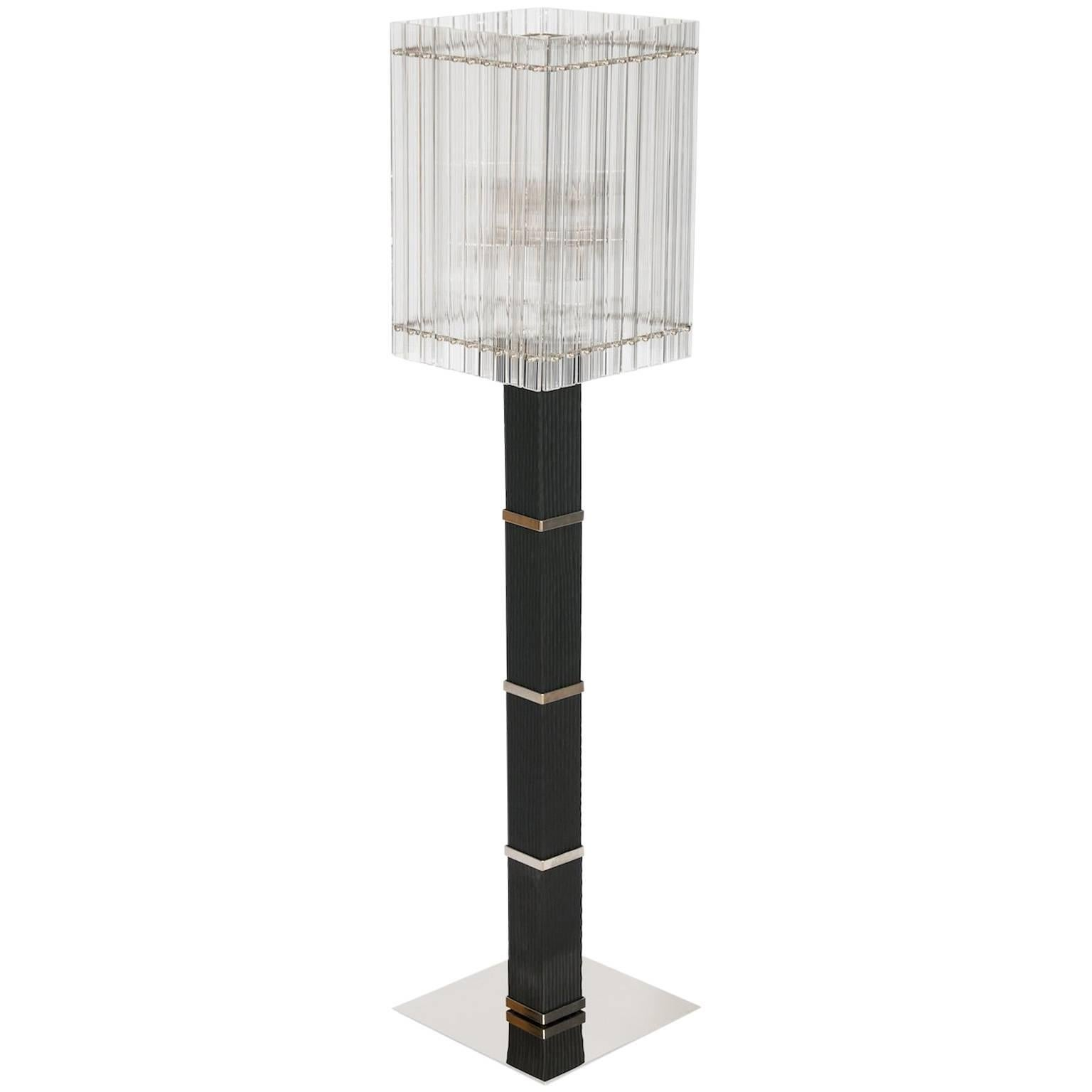 Modern Floor Lamp in Black and Transparent Murano Glass 1990s Italy