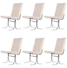 Six Dyrlund Chrome and Wool Chairs