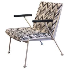 Wim Rietveld Oase Chair for Ahrend de Cirkel in black and white zig zag, 1958