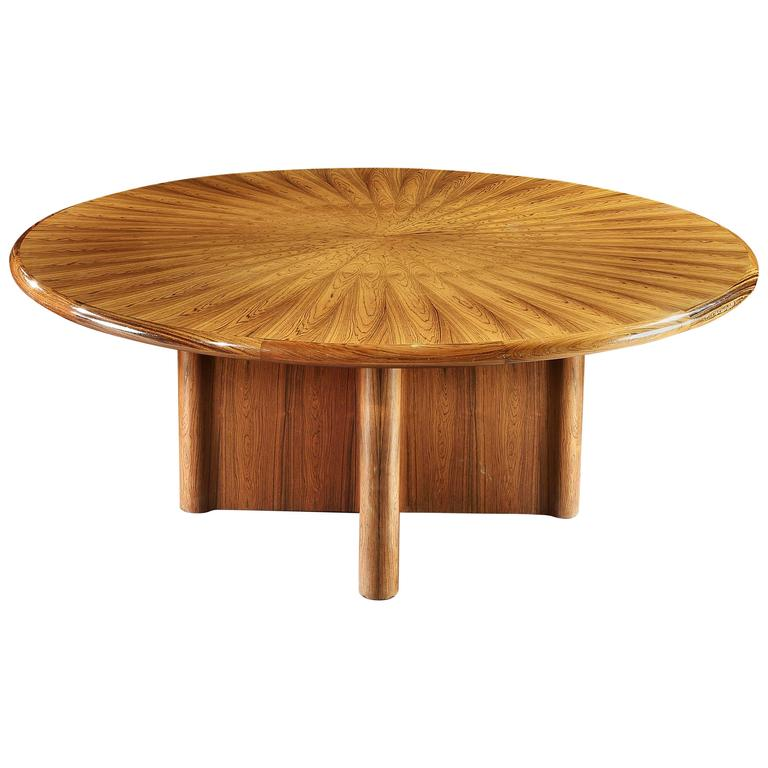 superb mid century round dining or center table for sale at 1stdibs. Black Bedroom Furniture Sets. Home Design Ideas