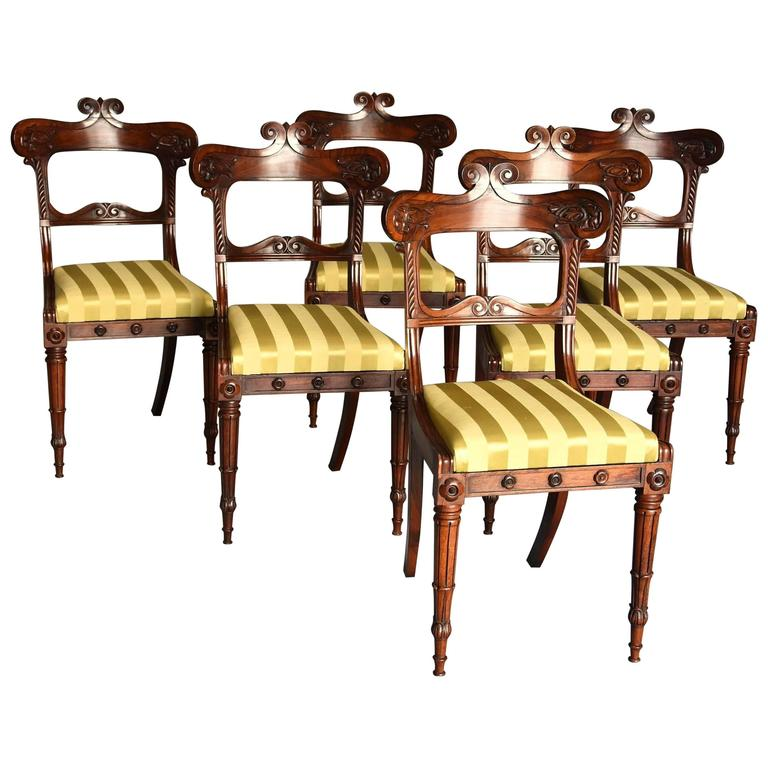 Fine quality set of six regency rosewood dining chairs for for Quality dining room furniture