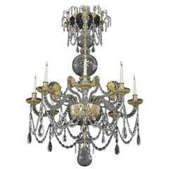 Unusual Twelve-Light Spanish Cut-Glass Chandelier