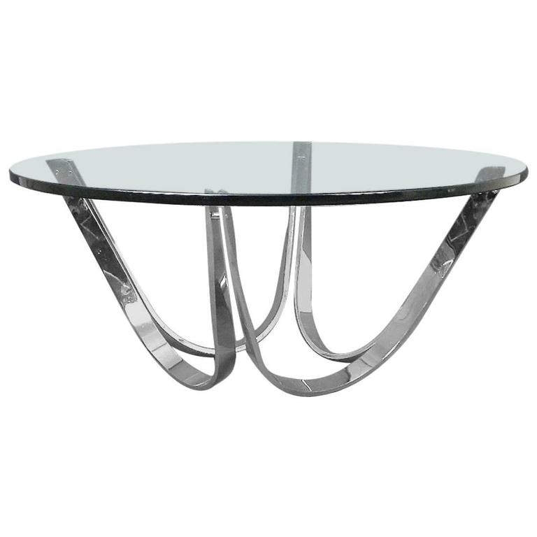 Chrome and Glass Coffee Table Produced by Tri-Mark Designs For Sale