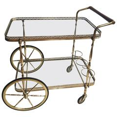 Classic French Brass Drinks Trolley or Bar Cart