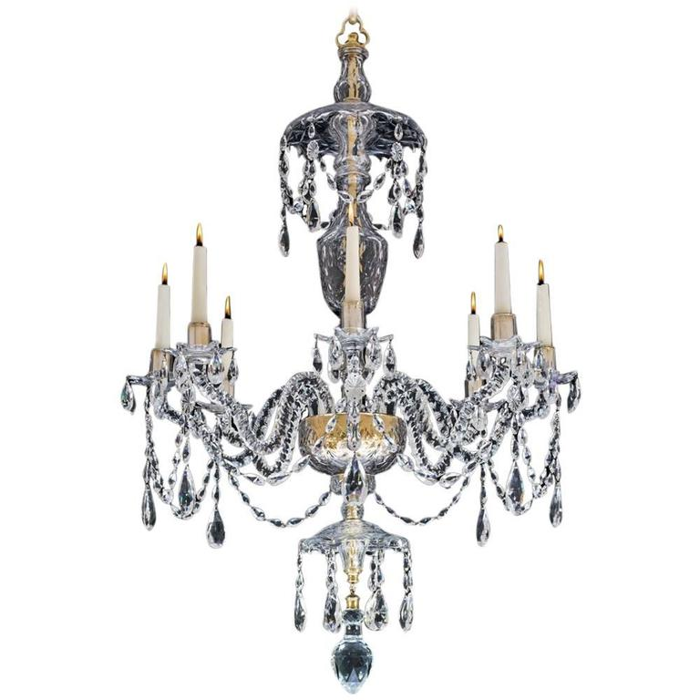 Extremely rare english george ii period cut glass chandelier for fine george iii eight light cut glass chandelier aloadofball Choice Image