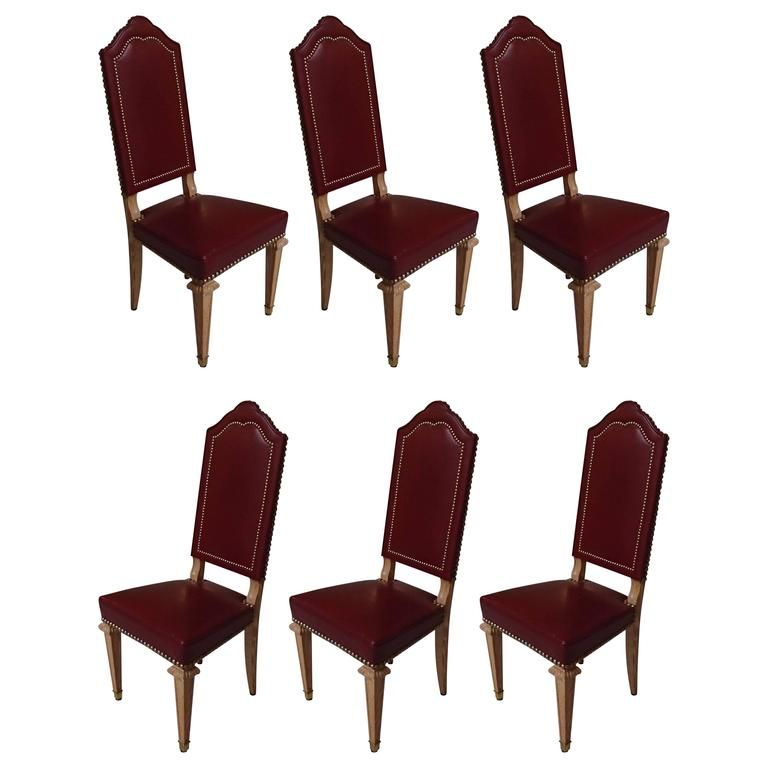 Six dining room chairs dark red leather cerused oak for for Red dining room chairs